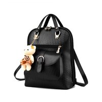 Wholesale 2016 New Casual Girls Backpack PU Leather Colors Fashion Women Backpack School Travel Bag With Bear Doll For Teenagers Girls