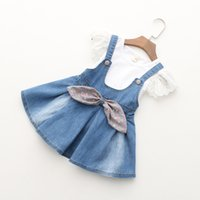 short dress with jeans - 2016 Children Girls Summer Overrall Set White T shirt Short Sleeves Clothing Bib Demin Jeans Dress with Bowknot Girls Outfit