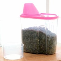 barrel nuts with plastic - Sealed Grains Storage Canister With Cover Plastic Green Pink Antibacterial Storage Barrel For Kitchen Sorting Beans Rice Nuts