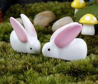 Wholesale 30pcs artificial mini rabbits Ornaments fairy garden miniature moss terrarium decor resin crafts bonsai home decor