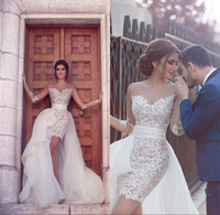 Wholesale New Arrival Sheer Strapless Long Sleeve Lace Short Wedding Dresses With Detachable Train Middle East Bride Bridal Gowns
