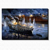 battle pictures - Ancient Naval Battle Painting Picture Canvas Poster Home Bar Pub Garage Art Decorative Print Canvas Painting cm