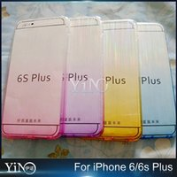bench pink - Gradient Color Soft TPU Silicone Transparent Clear Flexible Wire Drawing Draw Bench Case Cover For iPhone S Plus