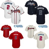 atlanta embroidery - Youth Dansby Swanson Jersey Atlanta Braves Jersey Embroidery logo Cool Base Authentic Baseball Jerseys S XL