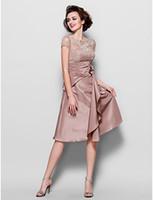 Wholesale 2016 Vintage Lace Mother of the Bride Dresses Jewel Neck Ruffles Waist Short Sleeves Plus Size Knee Length Mother Formal Evening Gown Custom