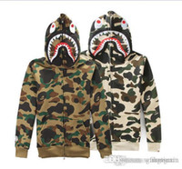 bape camouflage jacket - Autumn And Winter New swag clothing KANYE WEST jacket hoodies Camouflage camo Shark men YEEZUS tour windbreaker coat Outerwear