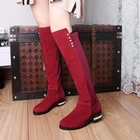 New Fashion Women Real Leather Knight Boots Warm Mid Heel Zipper Round Toe Long sur le genou Chaussures femmes de haute qualité Taille 32-43