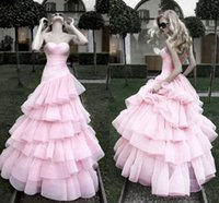 ball gowns suppliers - Romantic Pink Wedding Dresses Ball Gown Sweetheart Strapless Tulle Tiered Ruffles Princess Bridal Dresses For Weddings China Supplier