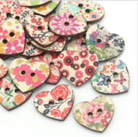 Wholesale Mixed Heart Shaped Hole Wooden Sewing Buttons Scrapbooking x22mm