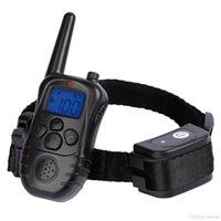 Wholesale Newest Yards Rechargeable Weatherproof Dog Training Collar Electric Shock Vibra LCD Remote for Large Medium Large Dogs Pet Black DHL