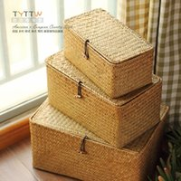 bamboo clothings - A set of three natural seaweed straw receive a case take the lid of the button box sundry receive a case clothings storage box