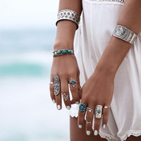 Wholesale Boho Jewelry Tribal Jewelry Set Antique Silver rings Set Bohemian Ethnic Jewelry Sets Accessories Can Free Collocation