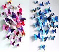 Wholesale Fresh violet and Blue three dimensional butterfly wall stickers refrigerator stickers outdoor and indoor decoration