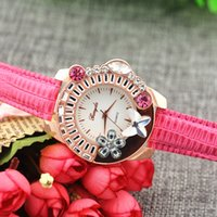animal watch band - Leather band animal flower crystal on case gold plate case quartz movement Gerryda fashion woman lady quartz crystal watches