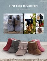 Wholesale Fashion Layer Tassels Baby Moccasin Newborn Babies Snow Boots Baby First Walkers Shoes Winter Warm Baby Shoes Colors Boots L350