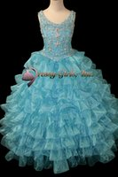 beautifly dresses - 2016 Spring New Beautifly Girl s Pageant Dresses Straps Sweetheart Crystal Beading Mosaic Birthday Wedding Kids Flower Dresses