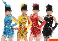 Wholesale New Korean Children Latin Dance dress dancing skirts sequin costumes stage wear dancing dresses children s Dancewear