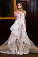 Wholesale 2016 berta wedding dresses detachable over skirt appliques beaded v neck backless mermaid lace wedding gowns