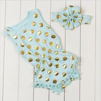 baby girl rompers sale - 2016 New Hot sale polka dots baby infant rompers gold new born baby girls pompom cute baby outfits children clothing romper hight quality