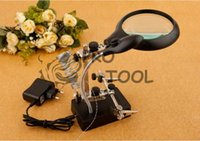 Wholesale magnifying glass lampe loupe desktop Magnifier with led lupe vergrootglas tercera mano helping third hand soldering lentes lupa