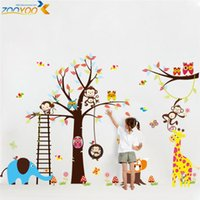 Wholesale Large animals for wall stickers to decorate children room owl monkey zoo children cartoon art wall stickers