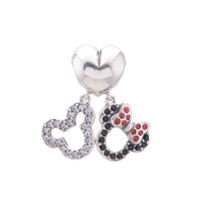 pandora charms - Mouse pendant mickey micky animal charms S925 sterling silver fits European pandora jewelry bracelet silver slide S121H6