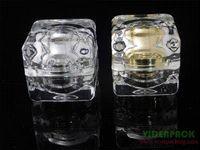 Wholesale 30g acrylic jar cream jar cosmetic jar acrylic bottle with double wall diamond shape bottle shaker bottle gourd