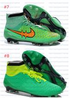 Compra Naranja marca de botas de fútbol-2015 Zapatos Azul Naranja Super Fly fútbol de los hombres de la bola grapas al aire libre Deportes baratos botas de tobillo netas Brand Magista Fútbol entrenadores de atletismo de arranque