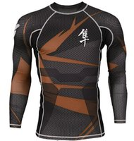 Wholesale Hight long sleeve sublimated hayabusa mma rash guard bjj brazilian jiu jitsu compression shirts fitness wares
