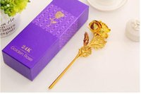 Wholesale PrettyBaby k Gold Rose Foil Flowers Jewelry for Women Lovers Valentine Day Handcrafted Gifts with Box for Mother Birthday Gift colors