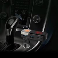 Wholesale Car Bluetooth handfree Car Kit MP3 wireless FM Transmitter Cigarette lighter Car Bluetooth Kit Handsfree USB Charger for iPhone Samsung