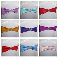 Wholesale 100pcs Spandex Lycra Wedding Chair Cover Sash Bands Wedding Party Birthday Chair Decoration Wedding Banquet Chair Sashes Bow Tie Band
