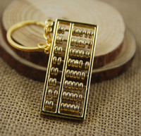 abacus shipping - 8 file abacus golden Abacus Bead arithmetics Metal Keychain Aotomotive Keyring Ring Key Fob Holder free ship