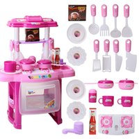 Wholesale Child Play house toy set baby mini kitchen sounding cookhouse set toy fun cooking game tools Pretend play kids best gift