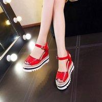 Cheap Women's Wedge Wedding Sandals Fashion Platform Heels Shoes Red Black White Buckle Strap Genuine Lather Gladiator Sandals 2016