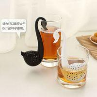 Wholesale 2016 New Nolvety Gift Swan Spoon Tea Strainer Infuser Teaspoon Filter Creative Plastic Tea Tools Kitchen Accessories