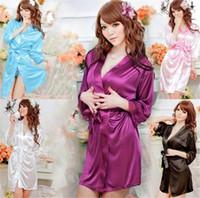 Wholesale Women Sleepwear Hot sale colors Sexy Lingerie Satin Sleepwear Silk Detail Robe and G String Sexy Sleepwear Nightdress