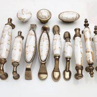 antique ceramic shoes - Golden crack ceramic bronze handle antique retro elegant European style Mediterranean style clothing and shoes cabinet handle