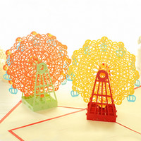 Wholesale Handmade D greeting cards Ferris Wheel Wedding Cards pop up paper laser cut vintage post cards greeting cards happy Birthday Gifts kraft