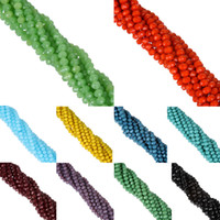 crystal rondelles - New AA Quality MM piece Candy Color Round Faceted Glass String Beads Crystal Rondelles White Black Red Green Yello