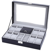 Wholesale Black Grids with Mixed Grids Watch Case PVC Leather Jewelry Storage Display Box