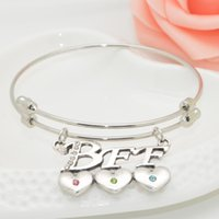 "Cheap 2016 Charms Alex ani style Letter ""BBF"" heart-shaped cz diamond Pendant Bracelet Women Bangles Cuff LOVE Bracelet For Women Jewellery"