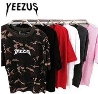 Wholesale New Yeezus T Shirt Camouflage Yeezus Summer Kanye West Cotton T shirts Justin Bieber Clothes Military Army Camo Yeezus T Shirt