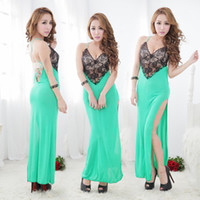 Wholesale sexy fashion lace sheer backless Split Straps maxi dress t pants sets summer women open fork Condole bel long club nightgown Nightdress suit