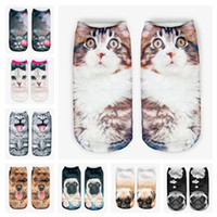 Wholesale 10 pairs animal cat d print sock slippers women invisible socks polyester cotton eight colors high quality imported ankle slipper socks