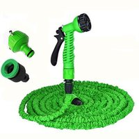 Wholesale New expandable garden hose magic Reels gun rubber water Plastic Connector pipe water valve FT manguera