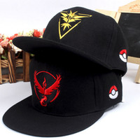 Wholesale 3D Cartoon Poke team Logo Caps Pocket Monster Embroidery cap Hats Casual Poke men women Unisex Baseball Cap colors christmas gifts