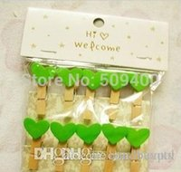 Wholesale Cute Love Heart Wooden Clothes Photo Paper Peg Pin Clothespin Craft Clips cm green