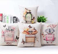 Modernes Creative Floral oreiller en coton lin Parfum Bouteille coussin / Home Decor coussins de canapé Chaise décorative Car Throw Oreillers
