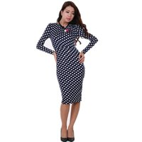 Wholesale 2016 New Fashion Star Style Women s Elegant Slim Long Sleeve Polka Dot Pencil Dress